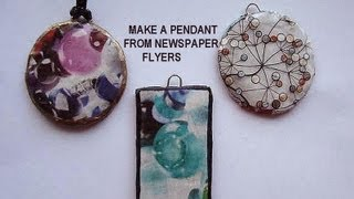How to MAKE A ROUND PENDANT FROM NEWSPAPER FLYERS, recycle project, paper beads