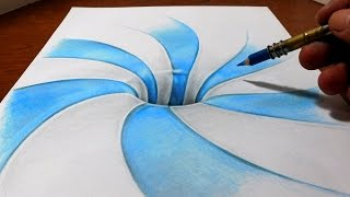 getlinkyoutube.com-Drawing a Spiral Pattern Hole - Anamorphic Illusion