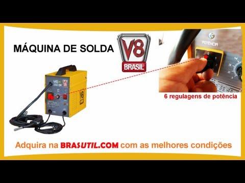 Máquina de Solda V8 150BR Sem Gás - Máquina de Solda 130A Mono. Brasutil