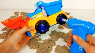 Construction Bulldozer Dump Excavator Truck Toy with Drill and Tools! Building a Toy Truck Playset width=
