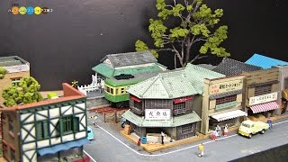 getlinkyoutube.com-Diorama - A shopping street in front of a train station ミニチュア昭和の駅前商店街作り