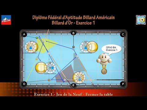 Diplôme Fédéral d'Aptitude Billard Américain - Billard d'Or - DFA3 BA - Exercice 1
