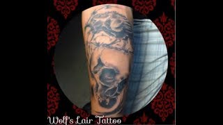getlinkyoutube.com-BLACK AND GRAY TATTOO  BARBED CROW WITH HUMAN SKULL WOLF'S LAIR TATTOO STUDIO  ARTIST : KENT THOUGHT