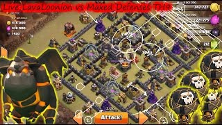 Live Attack, LavaLoonion vs Maxed Defenses TH9   Lava Hound Strategy   Clan Wars   Clash Of Clans HD