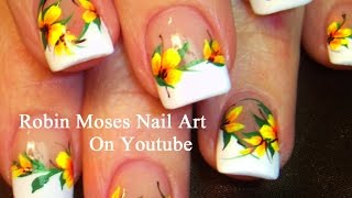 getlinkyoutube.com-Easy French Mani Nails with Yellow Flowers! DIY Neon Nail Art Design Tutorial