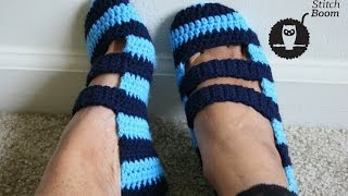 getlinkyoutube.com-Crochet Tutorial: Double Strapped Slippers