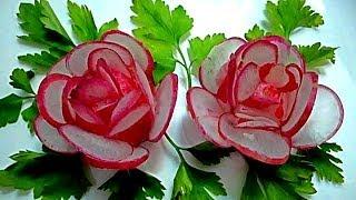 getlinkyoutube.com-Цветы из редиса. Украшения из овощей. Decoration Of Vegetables
