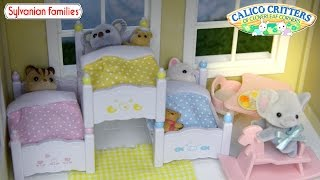 getlinkyoutube.com-Sylvanian Family Calico Critters Triple Bunk Bed Set Unboxing Review and Play - Kids Toys