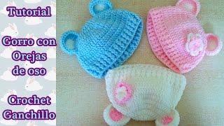 getlinkyoutube.com-DIY Como hacer un gorro crochet ganchillo bebe con orejas de oso   English Subs Baby's hat