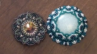 getlinkyoutube.com-BeadsFriends: Beaded bezel rivoli Swarovski and Beaded bezel resin cab | Beaded Jewelry