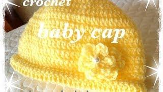 getlinkyoutube.com-ニット帽☆前回より少し大き目のベビーキャップです☆Crochet☆かぎ針編みで簡単に♪