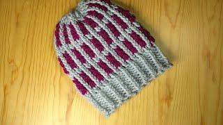 getlinkyoutube.com-Cómo tejer con telar un gorro a rayas en 2 tonos (Tutorial DIY)