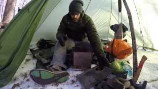 getlinkyoutube.com-Hot Tent Wood Stove Bushcraft Overnight winter survival Backpacking.