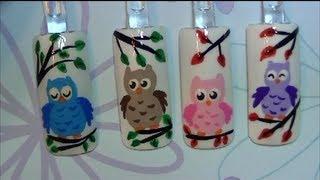 getlinkyoutube.com-Cute Owl Nail Art Design