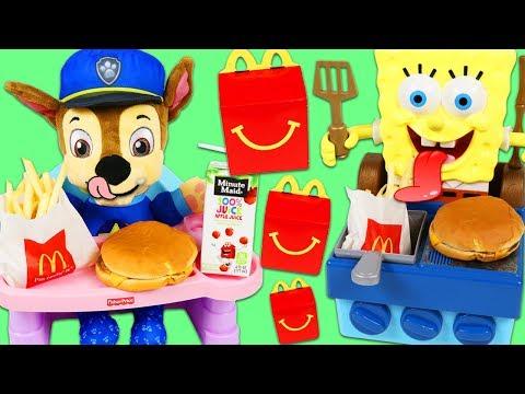 PAW PATROL Feeding Baby Chase McDonalds Happy Meal SpongeBob SquarePants Grills Burgers for Chase!