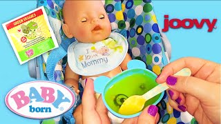 Zapfs Creations Baby Born Doll Feeding with Baby Alive Green Veggies in Joovy Toy Car Seat