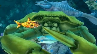 getlinkyoutube.com-Hungry Shark Evolution MR. SNAPPY (MOSASAURUS) Defeating Giant Yellow Crab