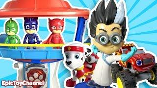 getlinkyoutube.com-PAW PATROL, PJ Masks Blaze and the Monster Machines Battle Romeo from PJ Masks Funny Video for Kids