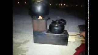 getlinkyoutube.com-فرن حطب للرحلات صغير ويطبخ قدرين في نفس الوقت Rocket stove Dual Pot
