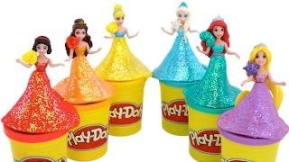 getlinkyoutube.com-Play Doh Sparkle Disney Princess Dresses Ariel Elsa Magiclip Dolls * Learn Colors * RainbowLearning
