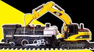 getlinkyoutube.com-Steam Trains Vs Excavator Digger Dump Truck Diesels