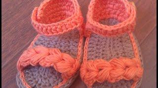getlinkyoutube.com-Sandalias de verano para bebé a Crochet - Parte 1