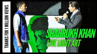 getlinkyoutube.com-Light Art of SRK in front of Shahrukh khan by Vivek Patil at World's Got Talent Press Confrence