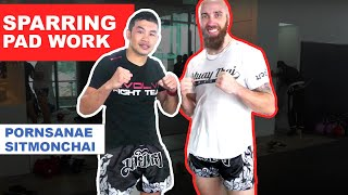 Pad Work and Sparring With Pornsanae Sitmonchai