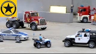 getlinkyoutube.com-BRUDER TOYS Trucks UNIMOG and LOADERS Rocket Speed Test POLICE guarded - LONG PLAY!