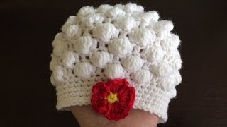 getlinkyoutube.com-How To Crochet A Bobble Stitch Baby Hat, Lilu's Handmade Corner Video # 105