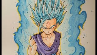 getlinkyoutube.com-Drawing Teen Gohan Super Saiyan Blue 2 | TolgArt