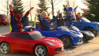 getlinkyoutube.com-Power Wheels Superhero Mega Race Compilation Video! | Gabe and Garrett