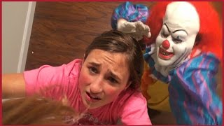 getlinkyoutube.com-Scary Killer Clown Chases us in The House - Girls Run and Hide Scared