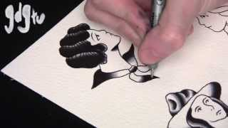getlinkyoutube.com-How To Paint Old School Tattoo Flash Pin-Up Designs Tutorial