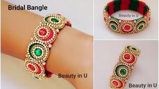 getlinkyoutube.com-How to make Designer Bridal Bangle at Home | Silk Thread Bangle | Tutorial