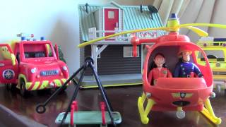 getlinkyoutube.com-Fireman Sam Toys playset - with Helicopter, burning house and action figures!