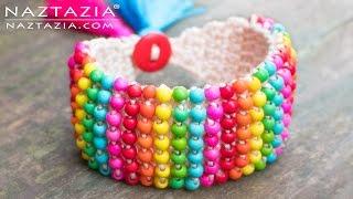 Crochet Boho Bead Bracelet - Bohemian Beaded Cuff - DIY Tutorial using Beads and Tunisian Crochet