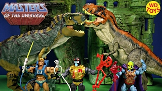 getlinkyoutube.com-New Masters Of The Universe Blast Attak Vs Bull T-Rex / Skeletor, Heman Jurassic World Unboxing