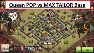 getlinkyoutube.com-Queen POP vs POPULAR MAX TAILOR BASE. C.C. Drag. War Attack. Clash of Clans