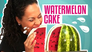 getlinkyoutube.com-How To Make A WATERMELON out of CAKE! PINK VELVET cake with BUTTERCREAM and FONDANT!
