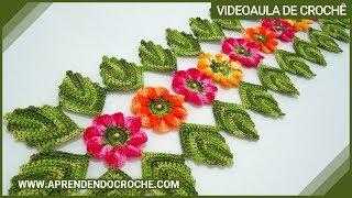 getlinkyoutube.com-Caminho de Mesa em Croche Encantos da Natureza - Aprendendo Crochê