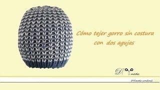 getlinkyoutube.com-Cómo tejer gorro sin costura con dos agujas