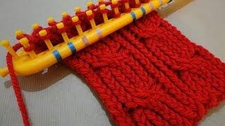 getlinkyoutube.com-Cómo tejer un cuello trenzado en telar rectangular
