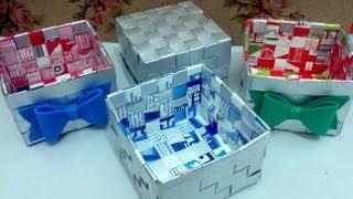 getlinkyoutube.com-Cesta com caixa de leite - Artesanato - Reciclagem - Passo a passo - Tutorial - Diy