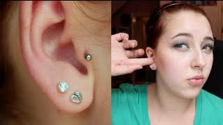 getlinkyoutube.com-Tragus Piercing Update #4- Healed? How?