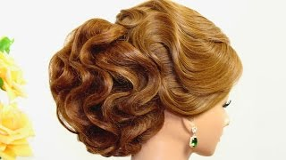 getlinkyoutube.com-Bridal wedding hairstyle for long hair with hair nets