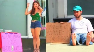 getlinkyoutube.com-Hot Girl Asking Money for Breast Implants vs. Homeless for Food!!!!