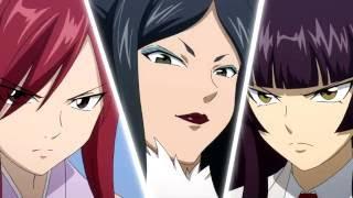 getlinkyoutube.com-Fairy Tail - Erza vs Kagura vs Minerva (English Dub) HD