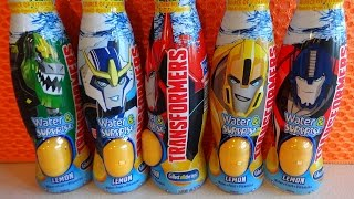 getlinkyoutube.com-Transformers Surprise Eggs in Drink with 3D Toys for Boys Huevos Sorpresa