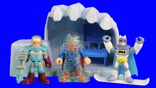 getlinkyoutube.com-Imaginext Mr. Freeze & Cave Frozen Superman Batman & Fisher Price Robot Robin Saves The Day